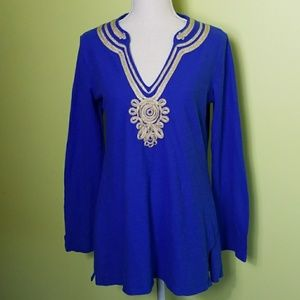 Lilly Pulitzer Emerson Blue Tunic Gold Trim Size M